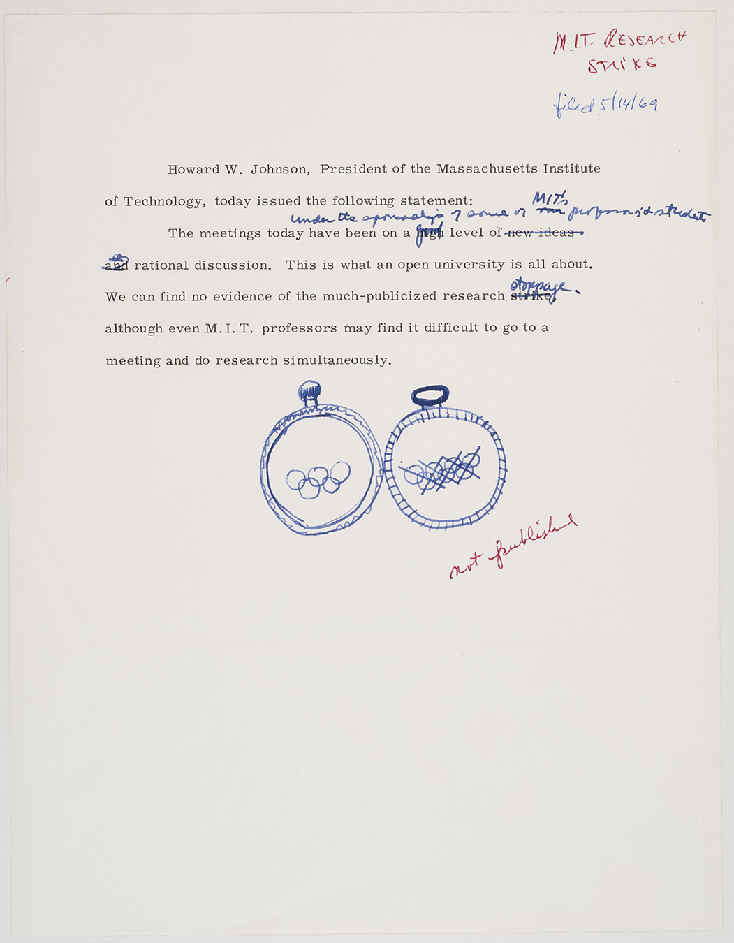 Draft statement by Howard Johnson (not published), circa March 1969, AC-0118, Box 107.