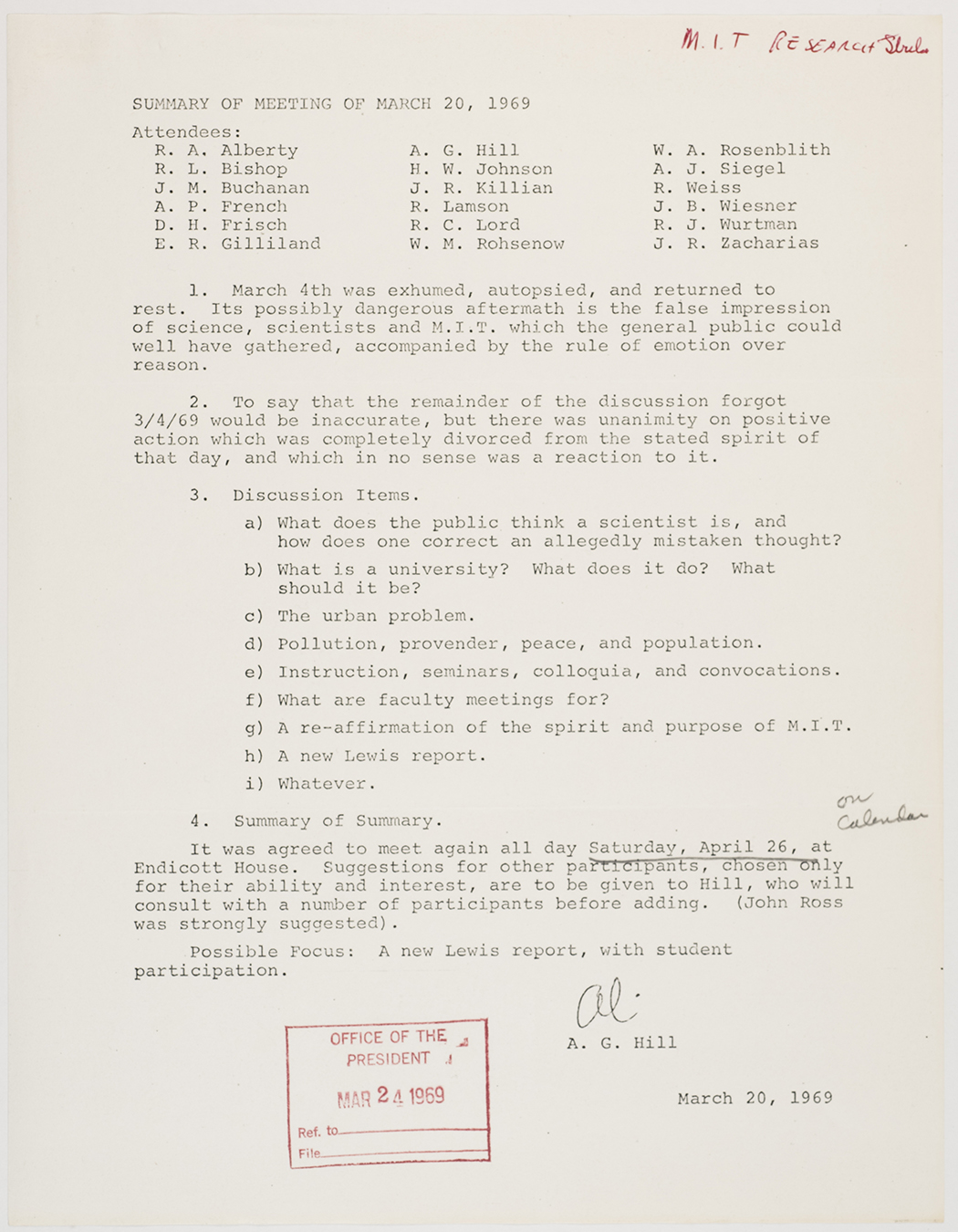Summary of meeting of March 20, 1969, AC-0118, Box 107.