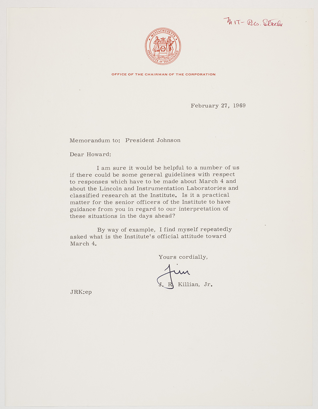 James R. Killian to Howard Johnson letter, 1969 February 27, AC-0118, Box 107.