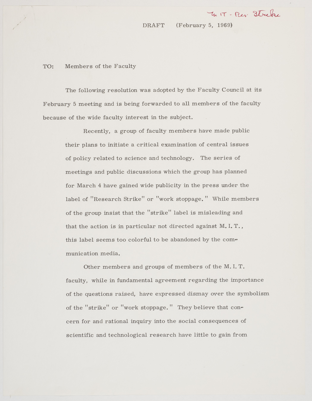 To members of the faculty draft of resolution, 1969 February 5, AC-0118, Box 107.