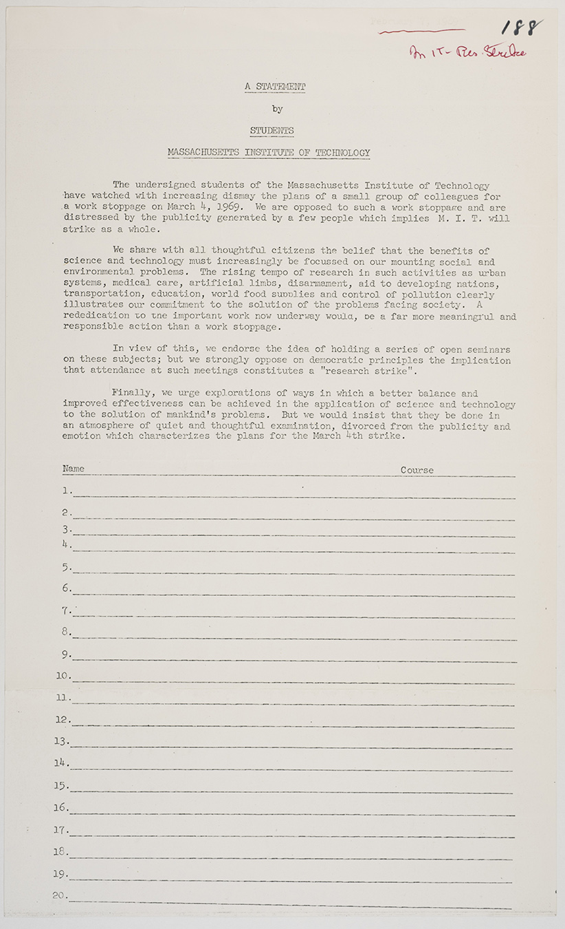 Statement by students, 1969, AC-0118, Box 107.