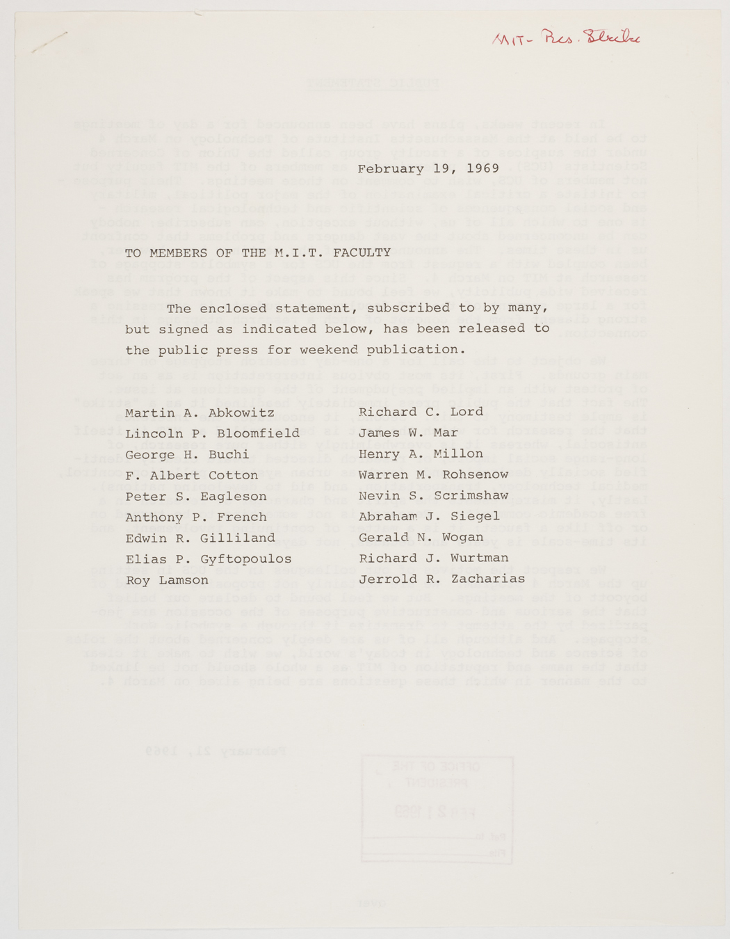 To members of the MIT faculty statement, 1969 February 19, AC-0118, Box 107.