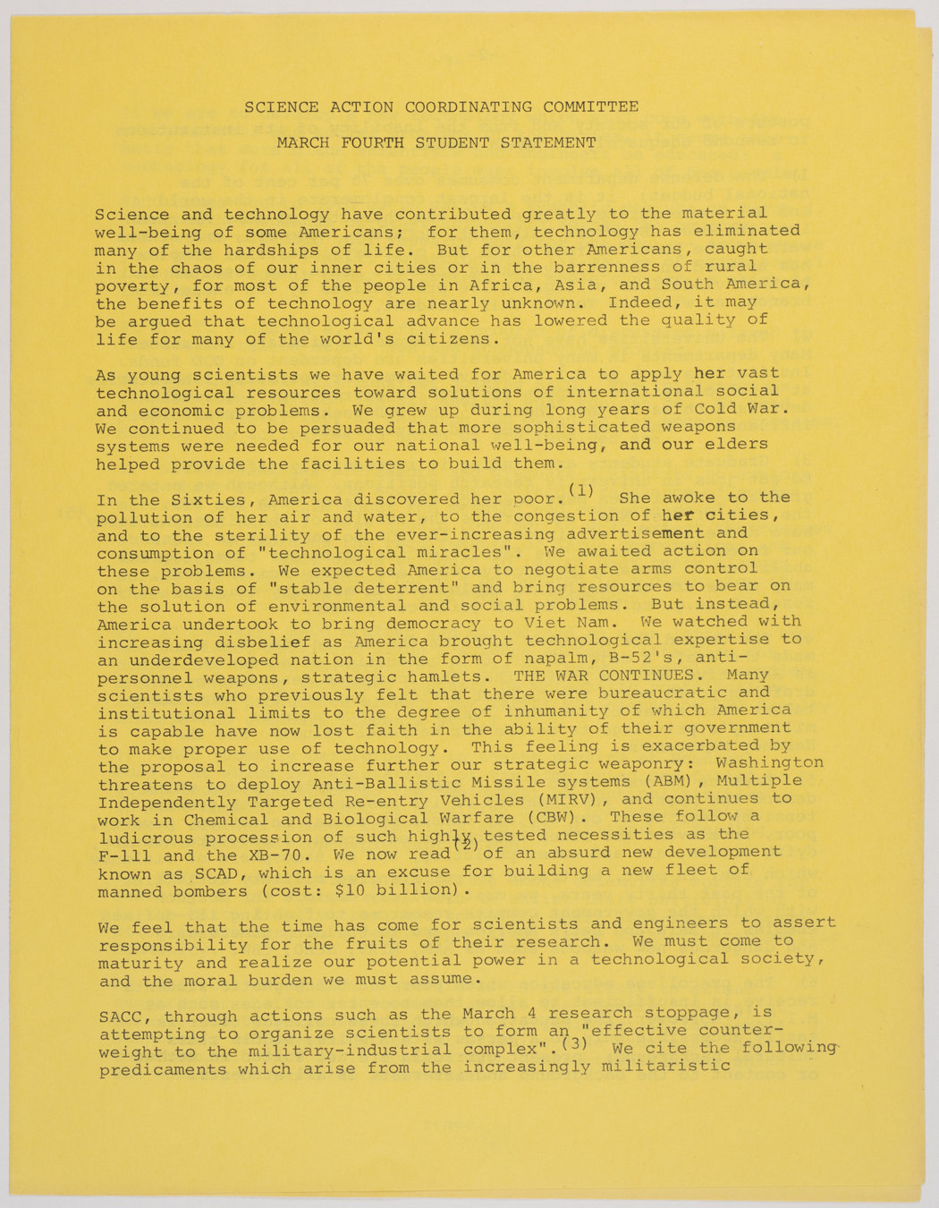 Social Action Coordinating Committee, March 4th student statement, 1969, AC-0349, Box 1.