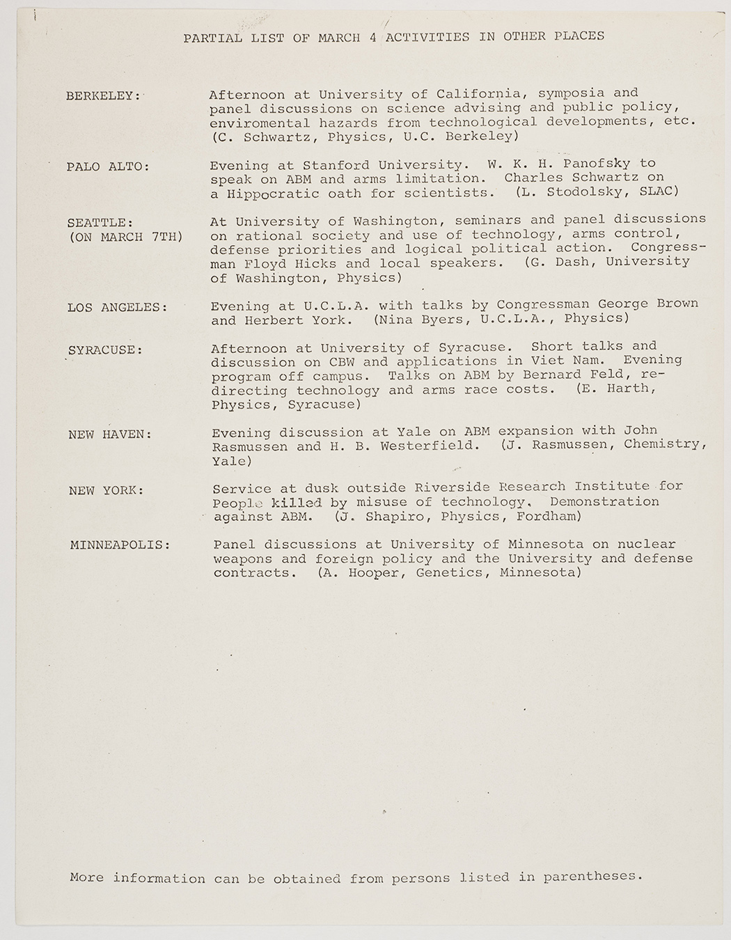 Partial list of March 4th activities in other places, 1969, AC-0349, Box 1