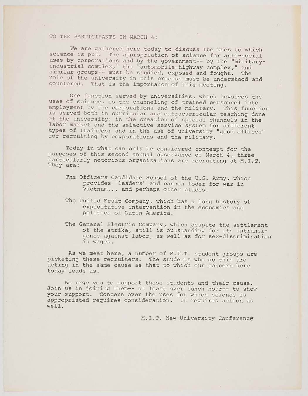 Letter from MIT New University Conference to the participants in March 4, 1969, AC-0349.