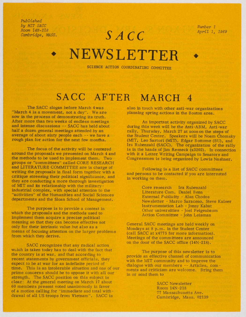 SACC newsletter no. 1, 1969 April 1, AC-0349, Box 1.
