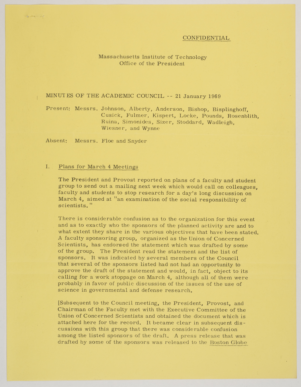 Minutes of the Academic Council, 1969 January 21, AC-0378, Box 13.
