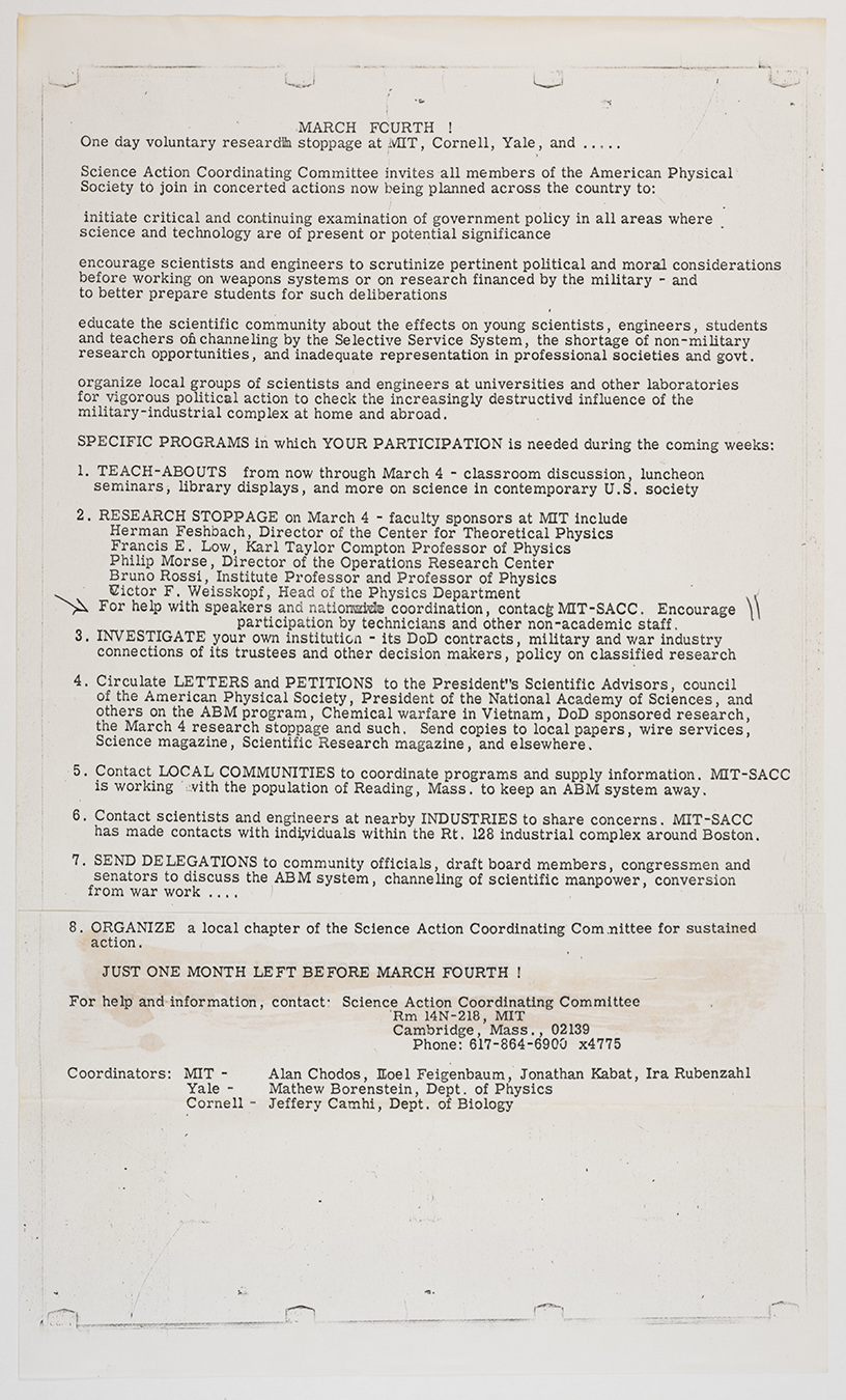 March Fourth! One day voluntary research stoppage at MIT, Cornell, Yale...flyer, 1969 February, AC-0008, Box 98.