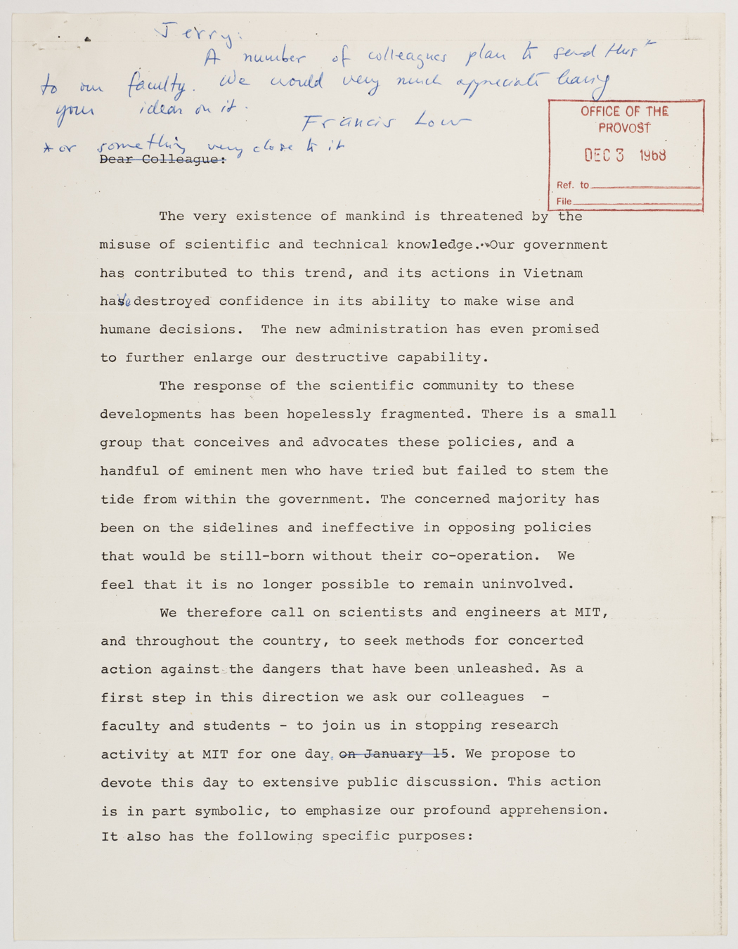 Draft of letter to Jerome Wiesner with handwritten note from Francis Low, 1968 December, AC-0008, Box 98.