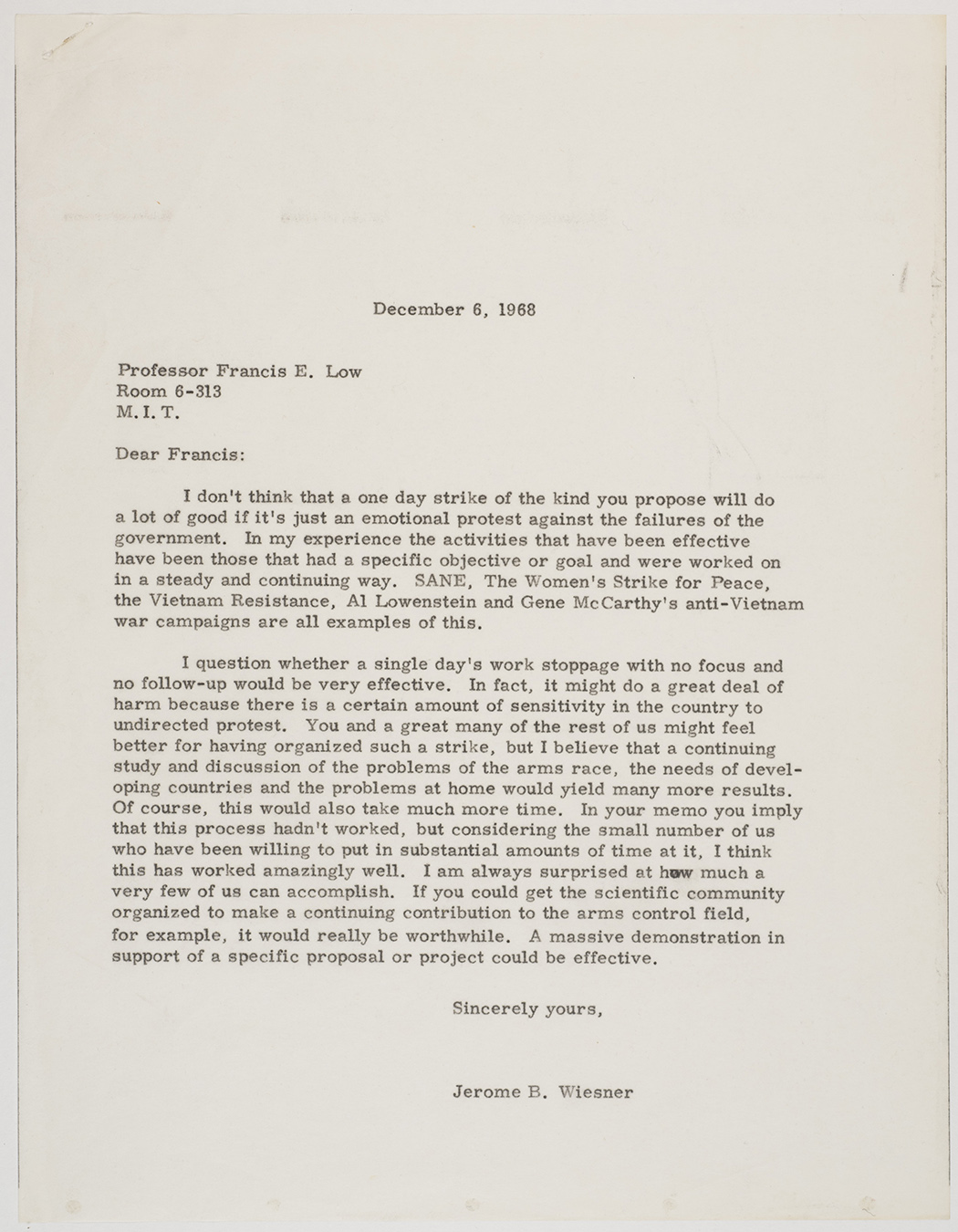 Letter from Jerome Wiesner to Francis Low, 1968 December 6, AC-0008, Box 98.