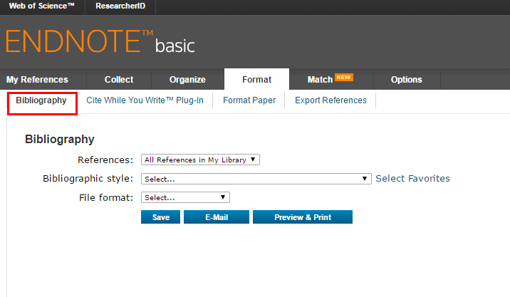 exporting bibliography from Endnote online