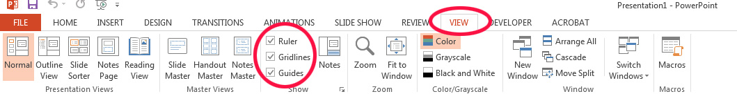 Powerpoint ribbon location