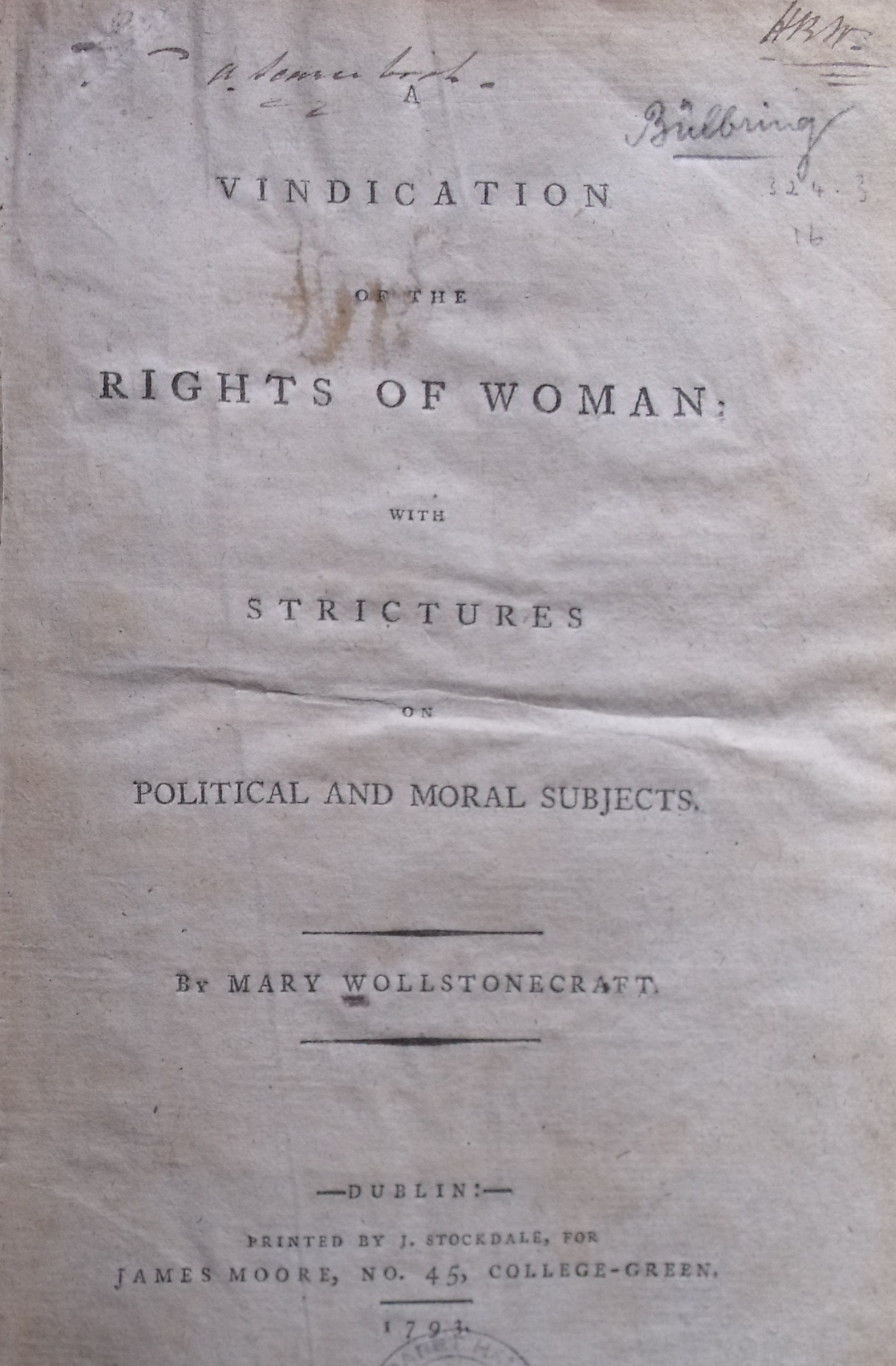 A vindication of the rights of women, by Mary Wollstonecraft