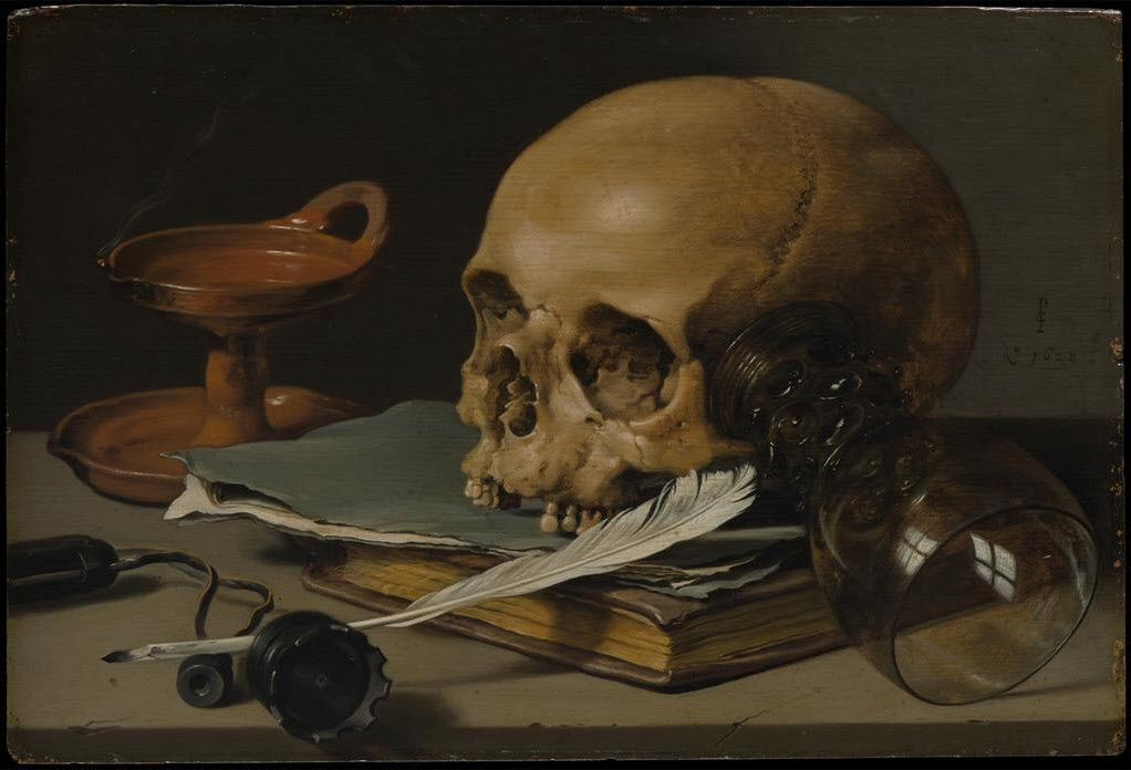Pieter Claesz - Still Life with a Skull and a Writing Quill, 1628