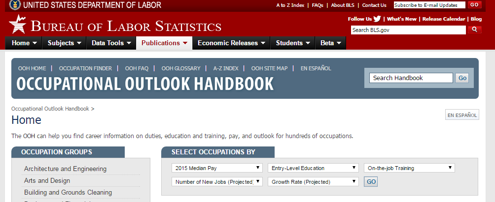 screen shot of Occupational Outlook Handbook webpage