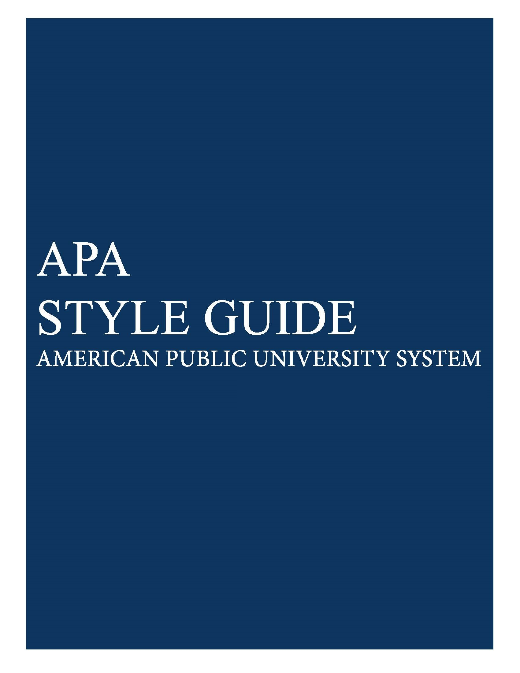 APUS ePress APA Guide cover
