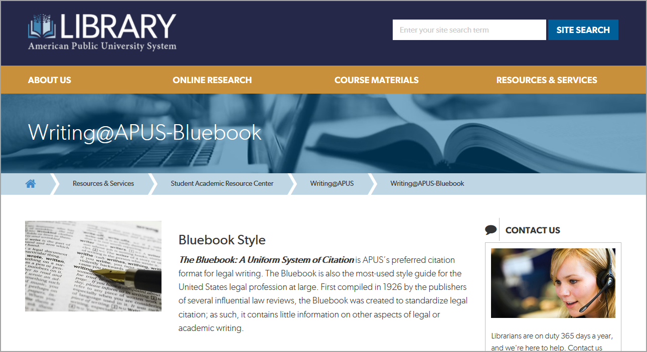 Bluebook Style W@A main page