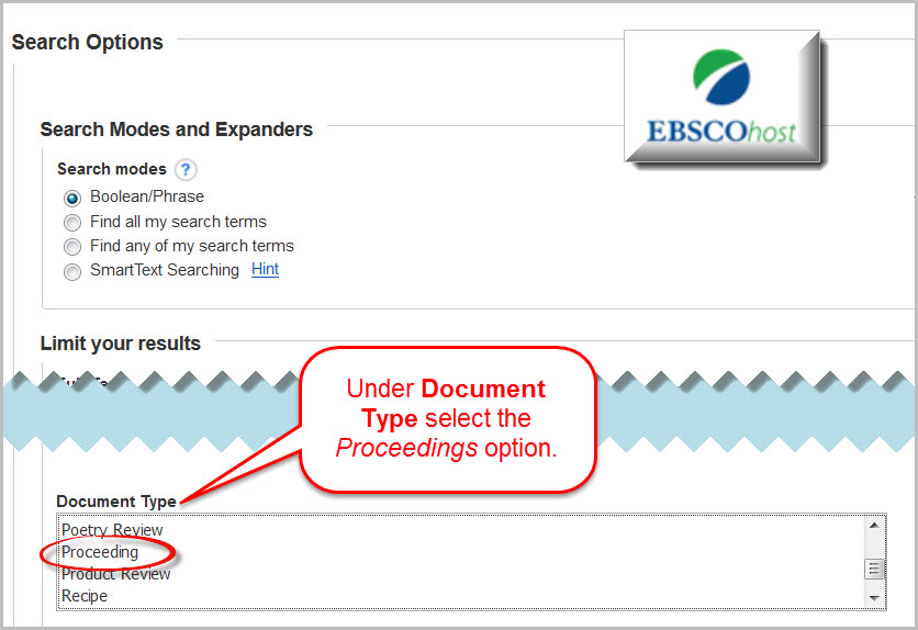 Conference Proceedings Search Option in EbscoHOST