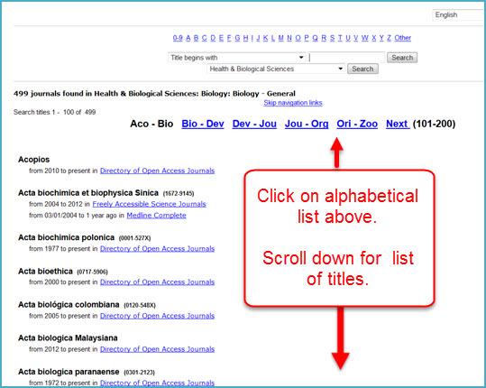Find A Journal List of Journals For Biology General