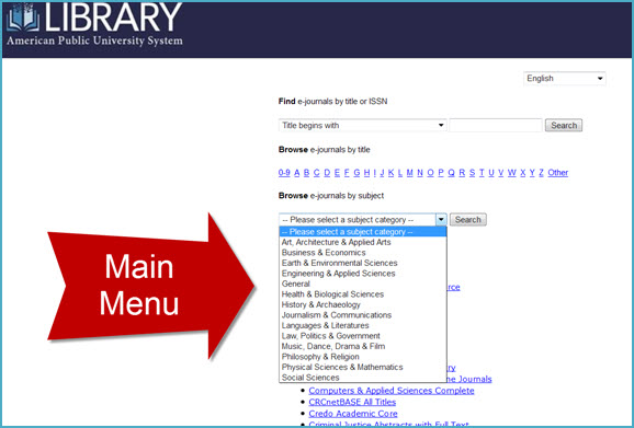Find A Journal Main Subjects Menu