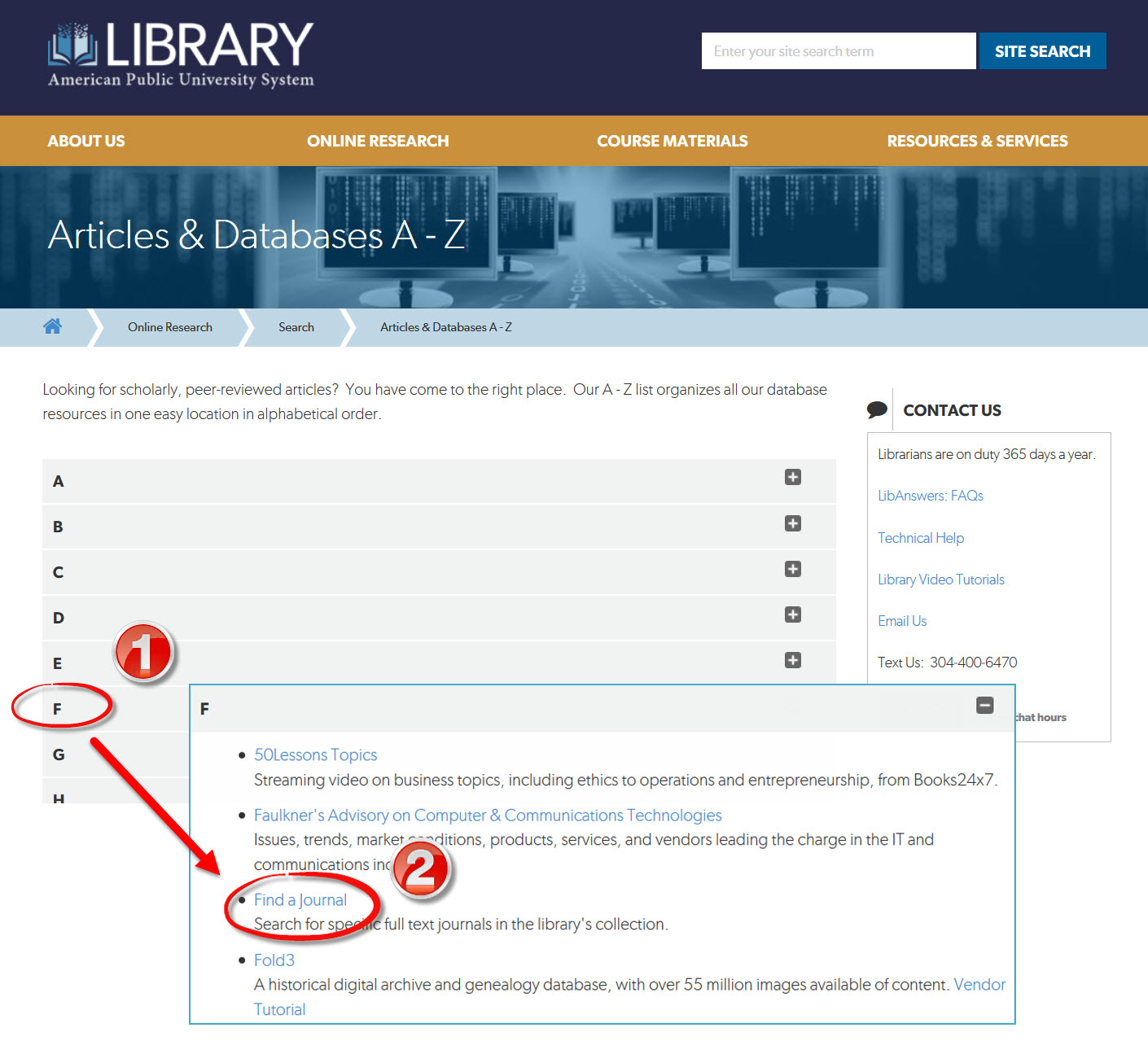 Find a Journal Link on Databases A-Z List