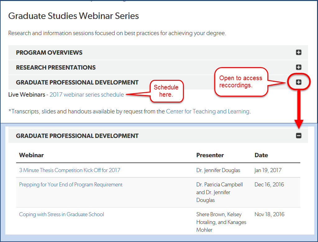 Webinar links on the Graduate Studies Resource Center page