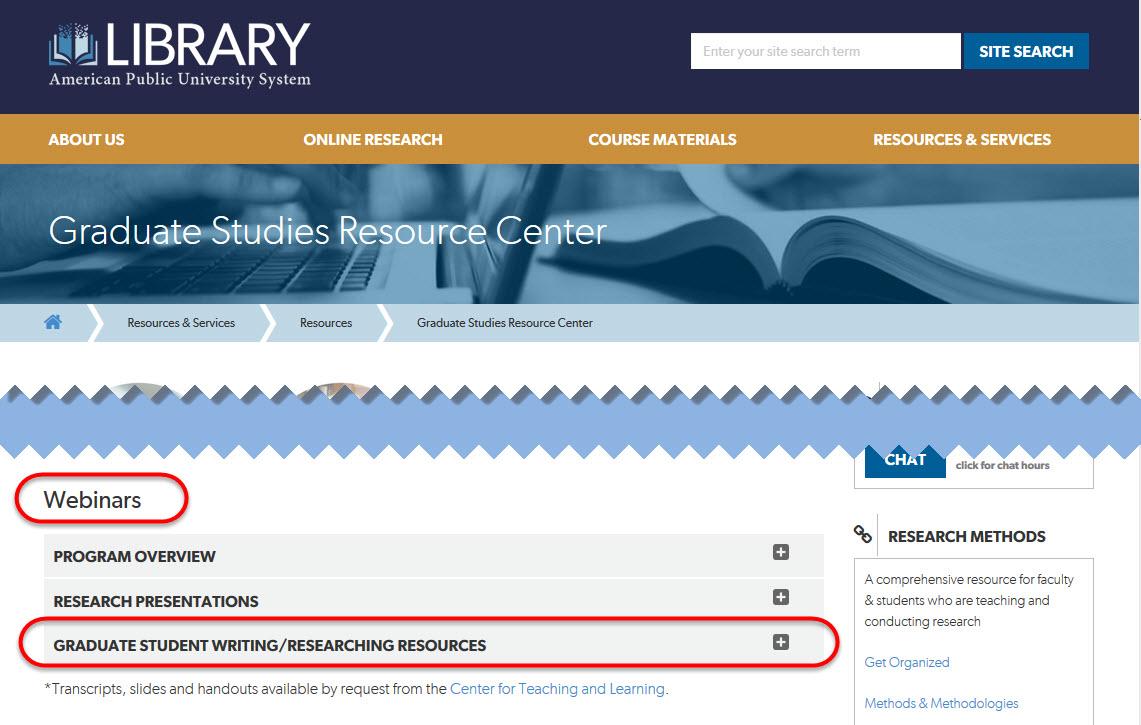Graduate Studies Webinars link