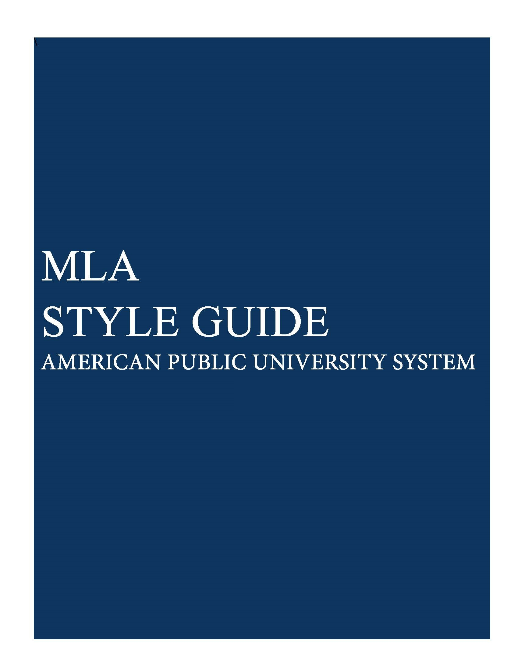APUS ePress MLS Style Guide cover