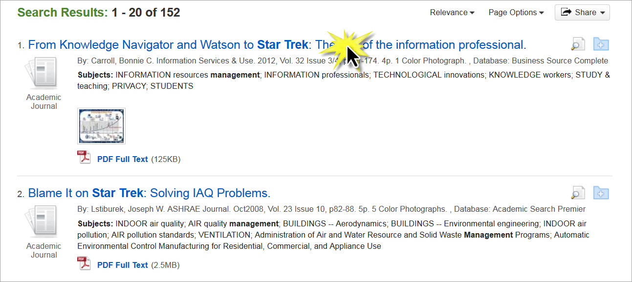 Zotero click on article
