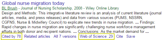 Screenshot of Google Scholar search showing cited by numbers.