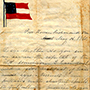 Handwritten letter with brightly colored American flag letterhead