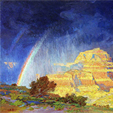 Bright blue and yellow impressionist painting of the grand canyon
