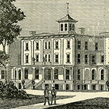 Black and white engraving of Greenville Woman's College