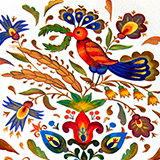 Brightly colored fabric pattern featuring bird and flowers