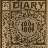 """Sepia-toned cover of a book with the writing """"Diary 1881"""" on the cover"""