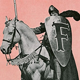 """A knight astride a white horse holding a shield with the Furman """"F"""" on it"""