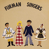 """A group of paper dolls in internationally themed costumes holding hands with the words """"Furman Singers"""" written above it"""