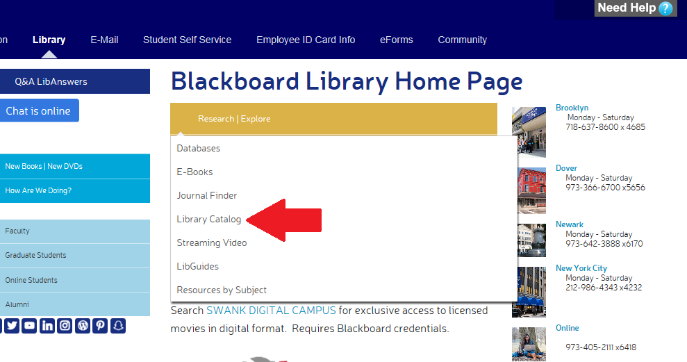 screenshot of Berkeley College library homepage