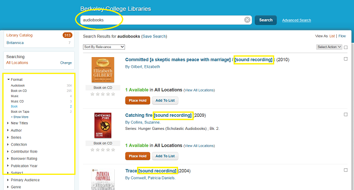 screenshot of a search for audiobooks in Berkeley College library catalog