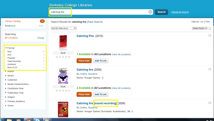 screenshot of a search for Catching Fire in Berkeley College library catalog