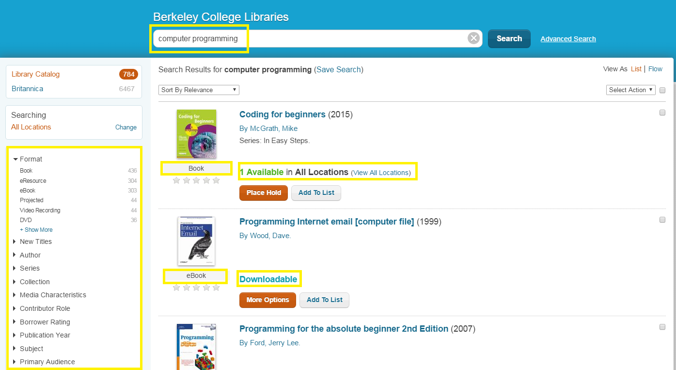 screenshot of a search for computer programming in the Berkeley College library catalog