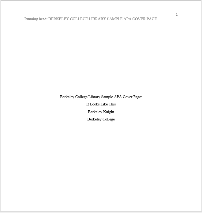 screenshot of a word document apa formatted title page