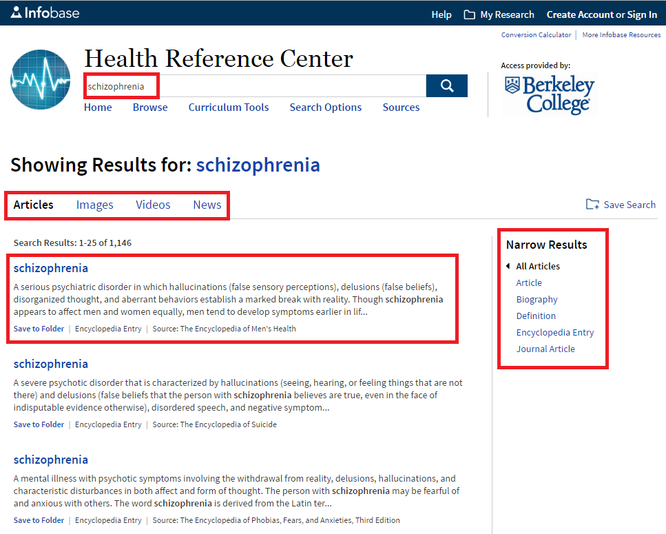 screenshot of a search for schizophrenia in Health Reference Center database