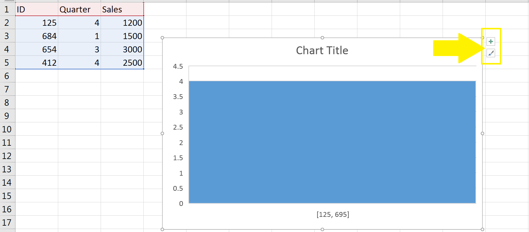 screenshot of Excel histogram chart