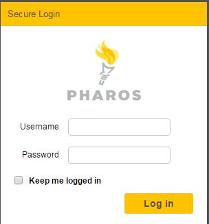 screenshot of Pharos Print center log on screen