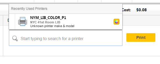 screenshot of select a printer menu