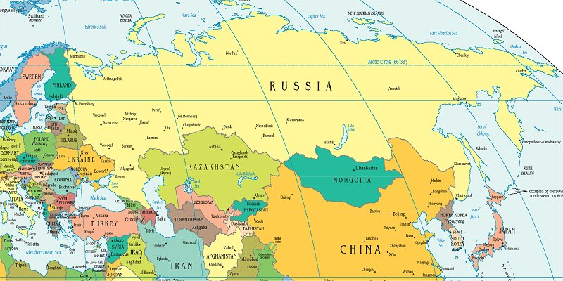 Russia And The Republics Political Map Russia And Eurasian Republics Political Map | Time Zones Map