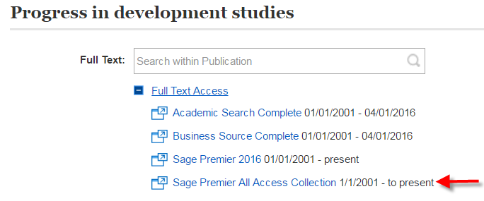 Screenshot of full text access.