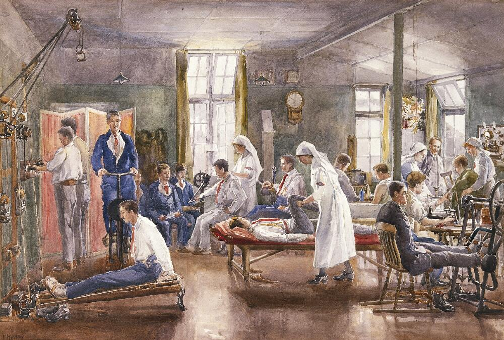 """Physical therapy at Bath War Hospital. Watercolour by E. Horton, ca. 1918"" is licensed by Wellcome Library under CC-BY-NC 4.0"