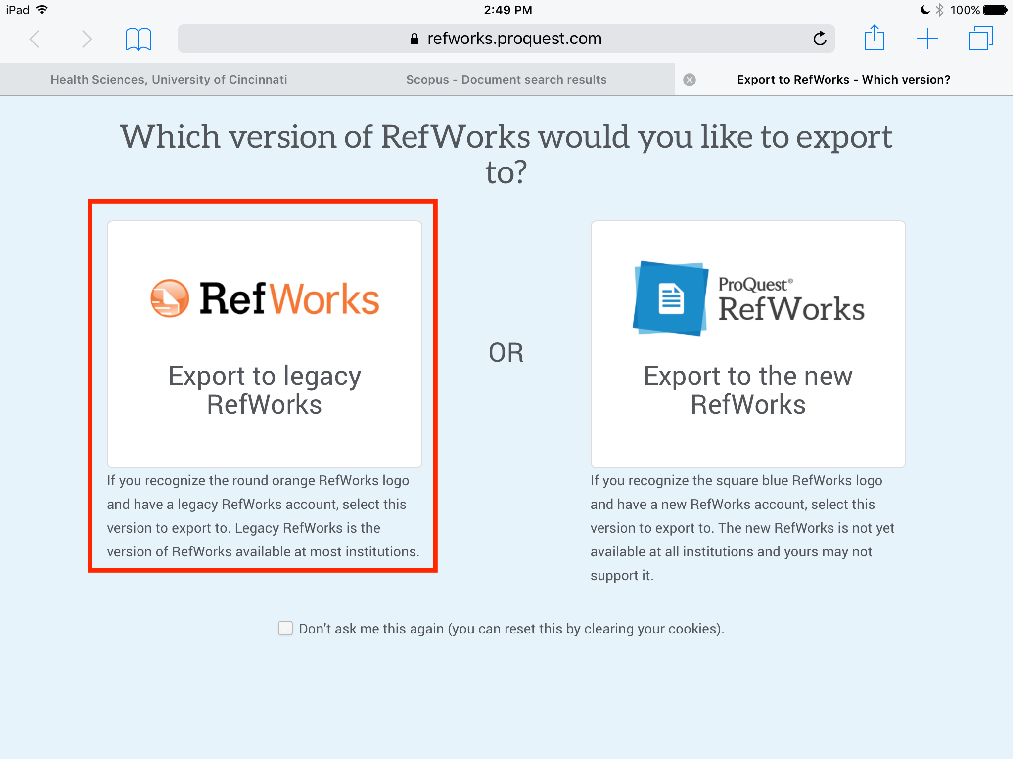 Screengrab of RefWorks import options with legacy option highighted
